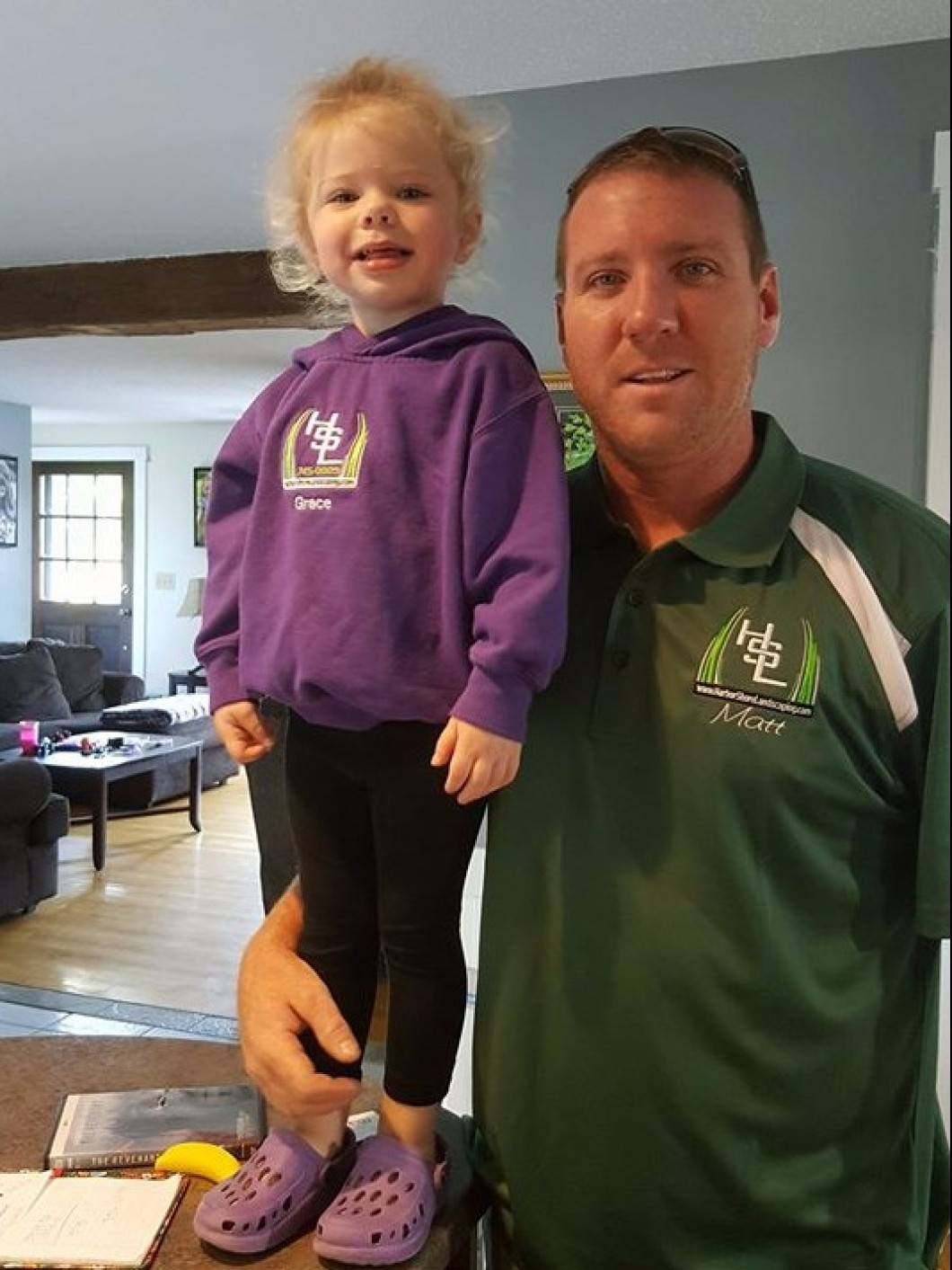 HSL youngest team player off to work with Daddy this morning, uniform and all.